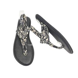 Sanuk Sling Black & Cream Palm Print Yoga Sandals